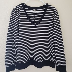 NWOT Striped V-Neck Pullover A New Day XL